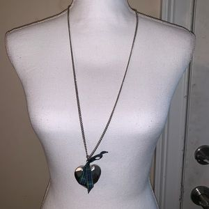 Long silver heart necklace